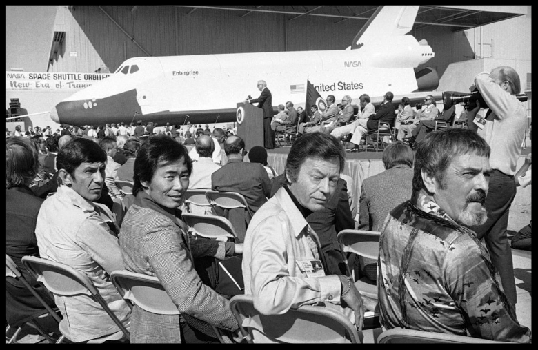 Part of the crew of the television series Star Trek attend the first showing of America's first Space Shuttle, named Enterprise, in Palmdale, California, on September 17, 1976. From left are Leonard Nimoy, George Takei, DeForest Kelly and James Doohan