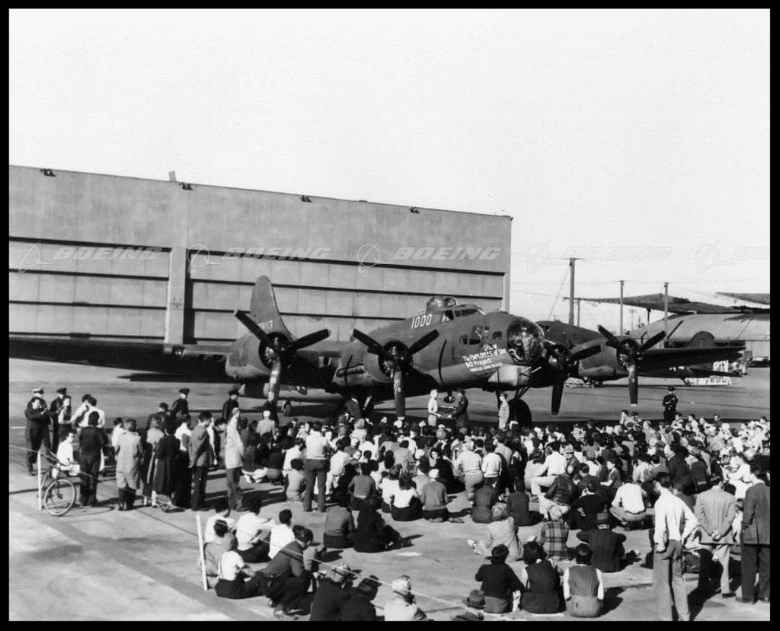 The 1,000th B-17 Bomber with Douglas Long Beach Factory Workers. Image- Boeing