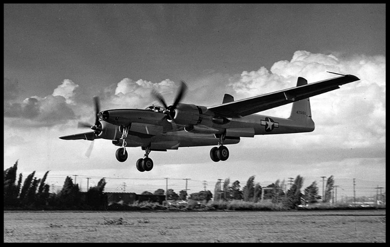 April 5, 1947 The second XF-11 prototype, with Howard Hughes at the controls, flies for the first time at the Hughes Aircraft plant in Culver City. Hughes Aircraft image.    More here...