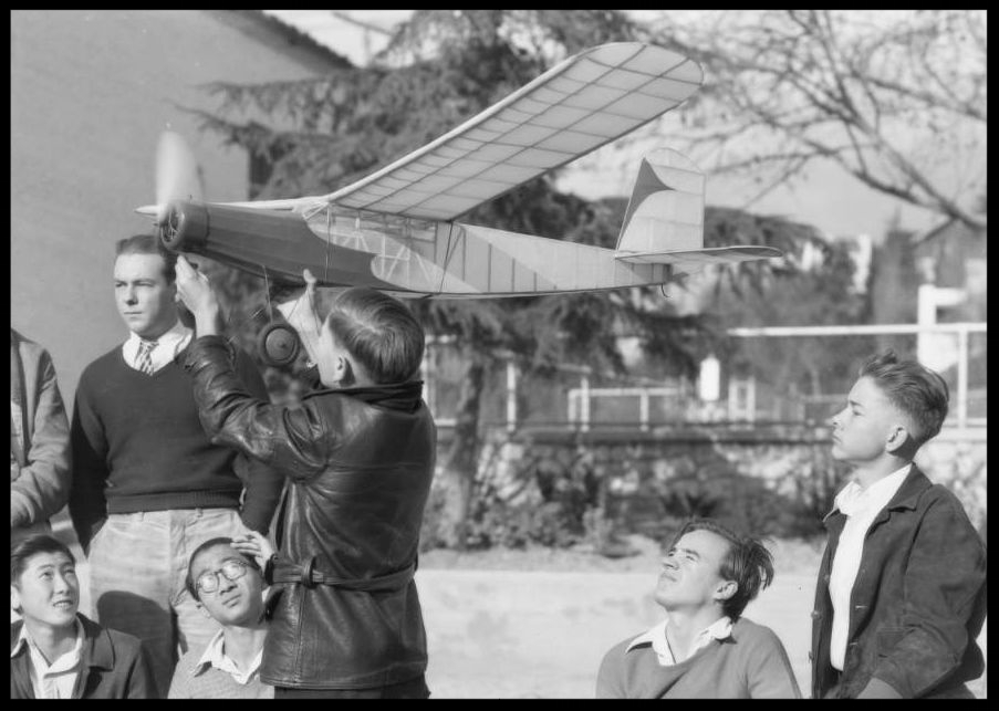 Above- Model airplane, Echo playground, Southern California, 1932.  Image- USC Digital Photo Archive
