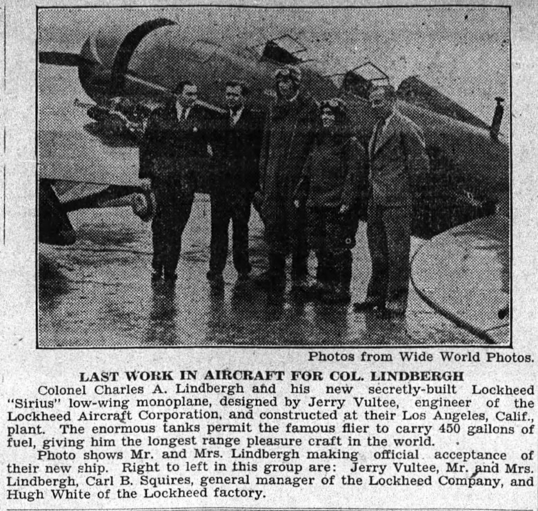 "Above- ""Last Work In Aircraft For Col. Lindbergh"""