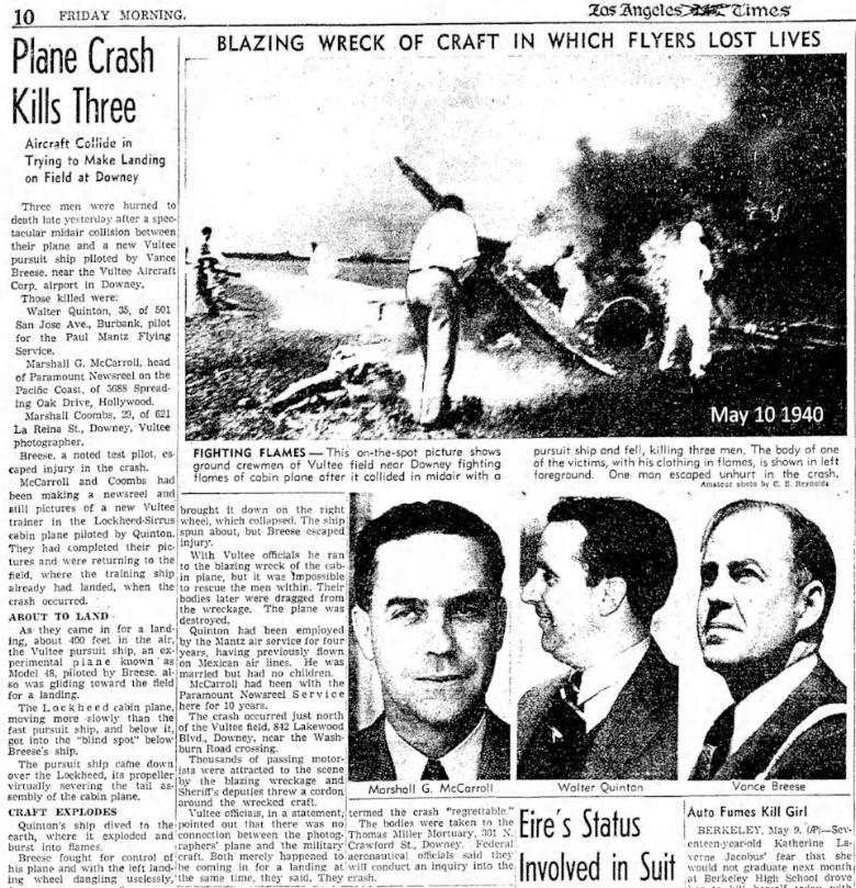 1940 airplane crash near Downey's Vultee Aircraft claims Vance Breese. Los Angeles Times May 10, 1940.