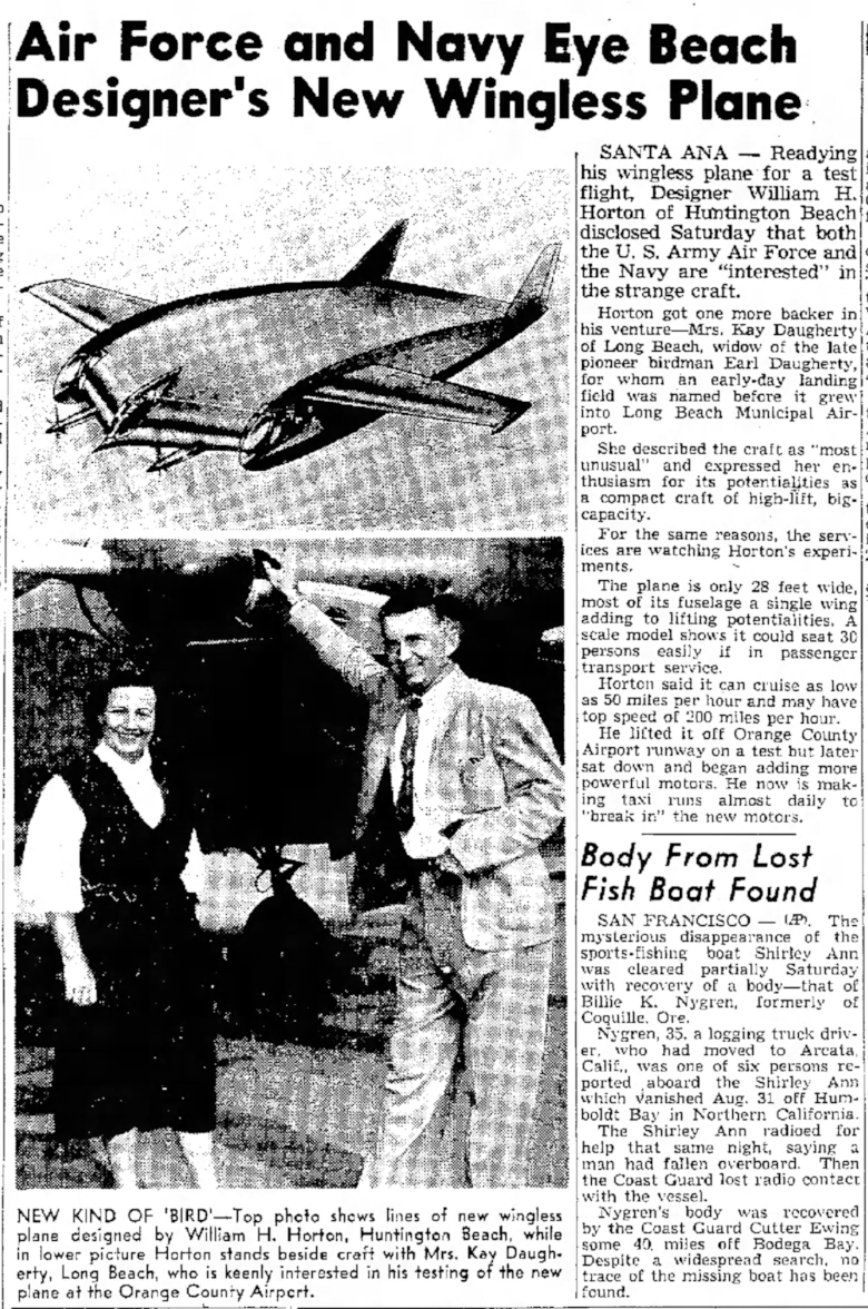 """New Kind of Bird"" . Independent Press Telegram Sep. 20, 1953."