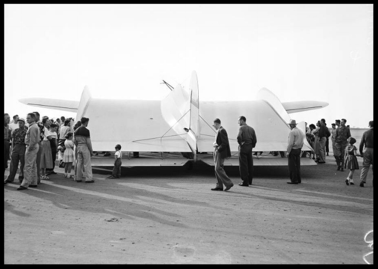 Wingless aircraft ( Horton Wingless Airplane ), 22 January 1954. Will Horton -- 37 years (Pilot); Garry Horton -- 15 years (son) (at Orange County Airport. USC Archive