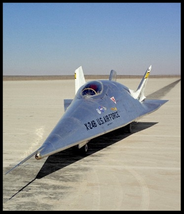The X-24B is seen on the lake bed at NASA's Dryden Flight Research Centre in Edwards, California. This was the last aircraft to fly in Dryden's Lifting Body program. The final flight took place on September 2, 1975. Image- NASA