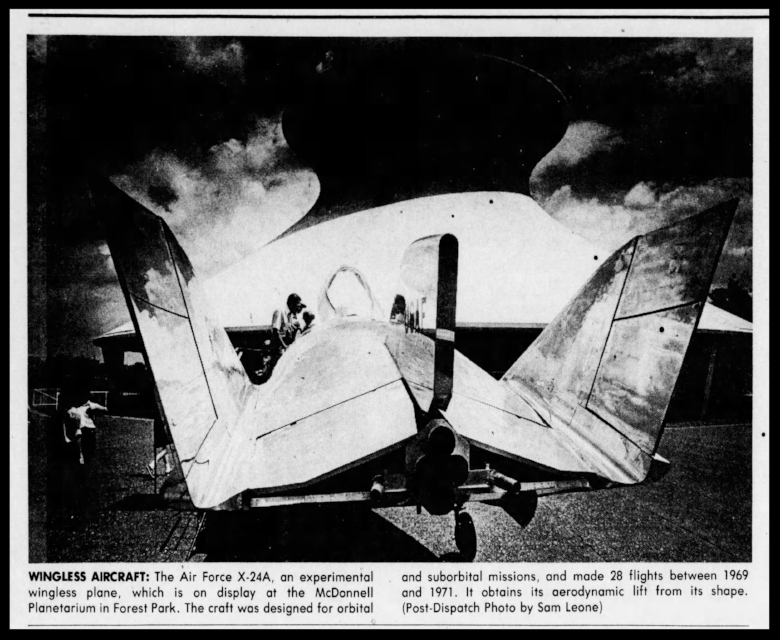 The Air Force's X-24. St. Louis Post Dispatch Thu. July 1, 1976