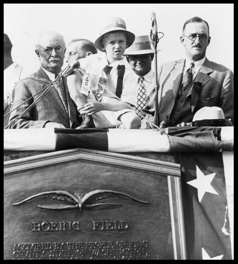 Boeing Field dedicated 1928, William Boeing on the fight. Image- Boeing