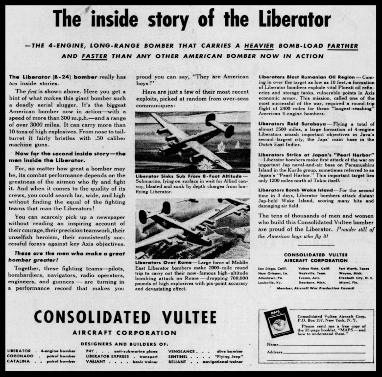 The Philadelphia Inquirer Monday August 30, 1943. B-24 Liberator.