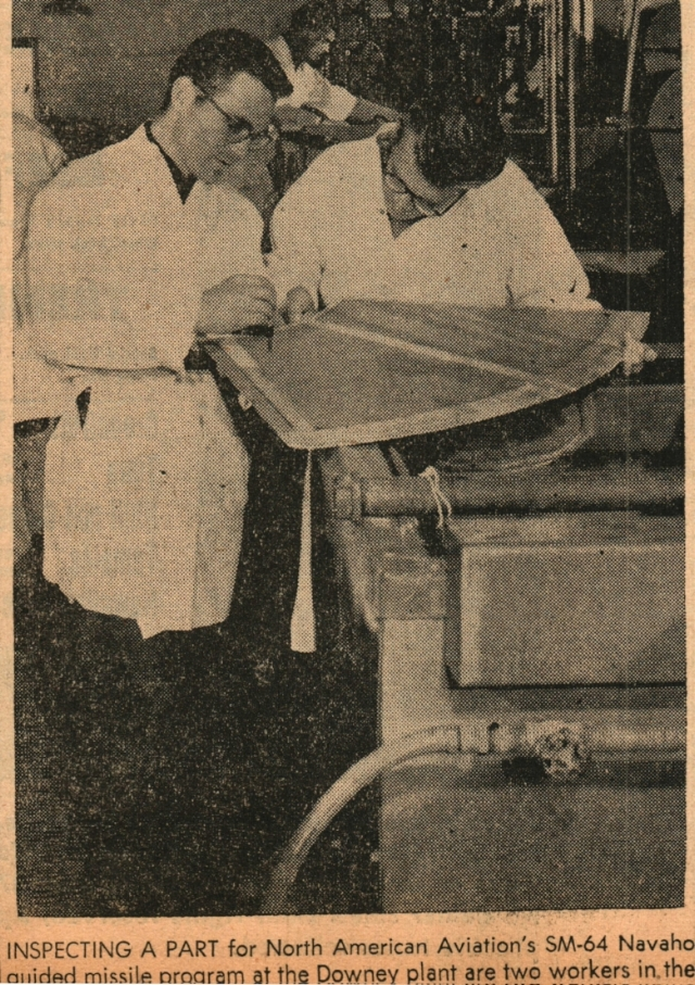 """Inspecting A Part"" for North American Aviation's SM-64 Navaho Missile program at the Downey plant are two workers..."". Downey Livewire, Downey Historical Society"