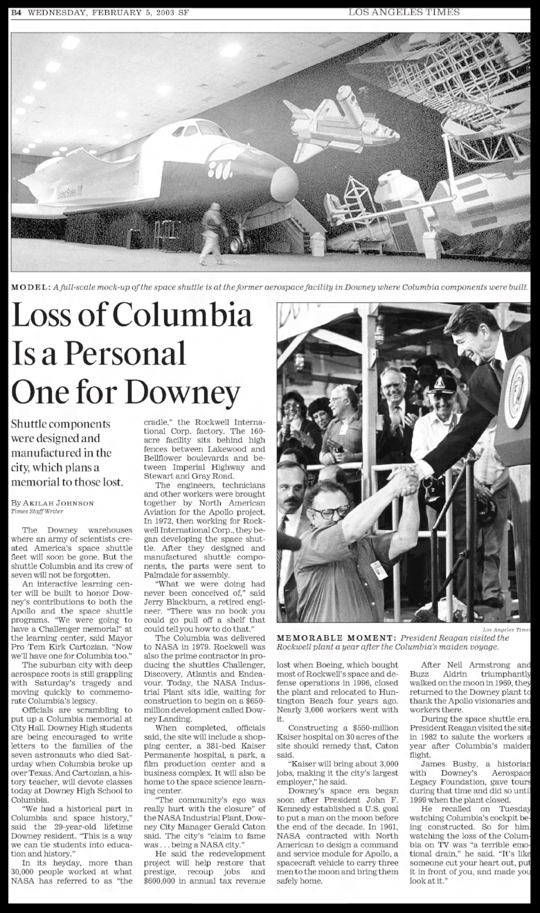 """Loss of Columbia Is a Personal One for Downey""Los Angeles Times- Wednesday February 5,2003."
