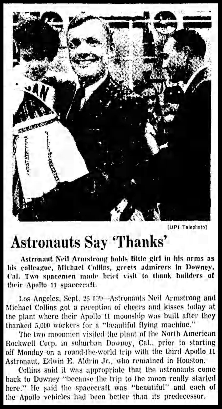"""Astronauts say thanks"". Chicago Tribune Sat Sep 27 1969"