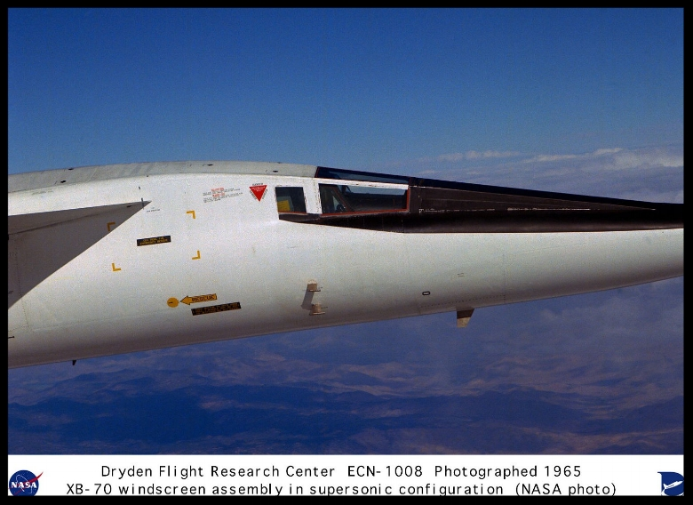 XB-70A windscreen assembly closeup in supersonic flight configuration 1 2 1969.jpg