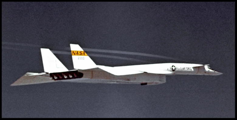 #1 XB-70A 62-0001 is in a level cruise flight mode at a relative high altitude judging from the darkness of the sky.1968