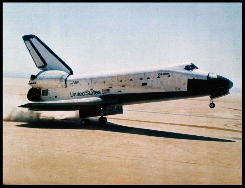 On April 14, 1981, the rear wheels of the space shuttle orbiter Columbia touched down on Rogers dry lake at Edwards Air Force Base, NASA's Armstrong Flight Research Center
