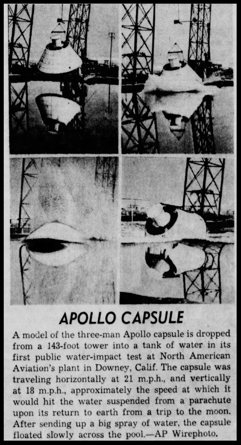 Apollo capsule. The La Crosse Tribune Fri Apr 5 1963 .