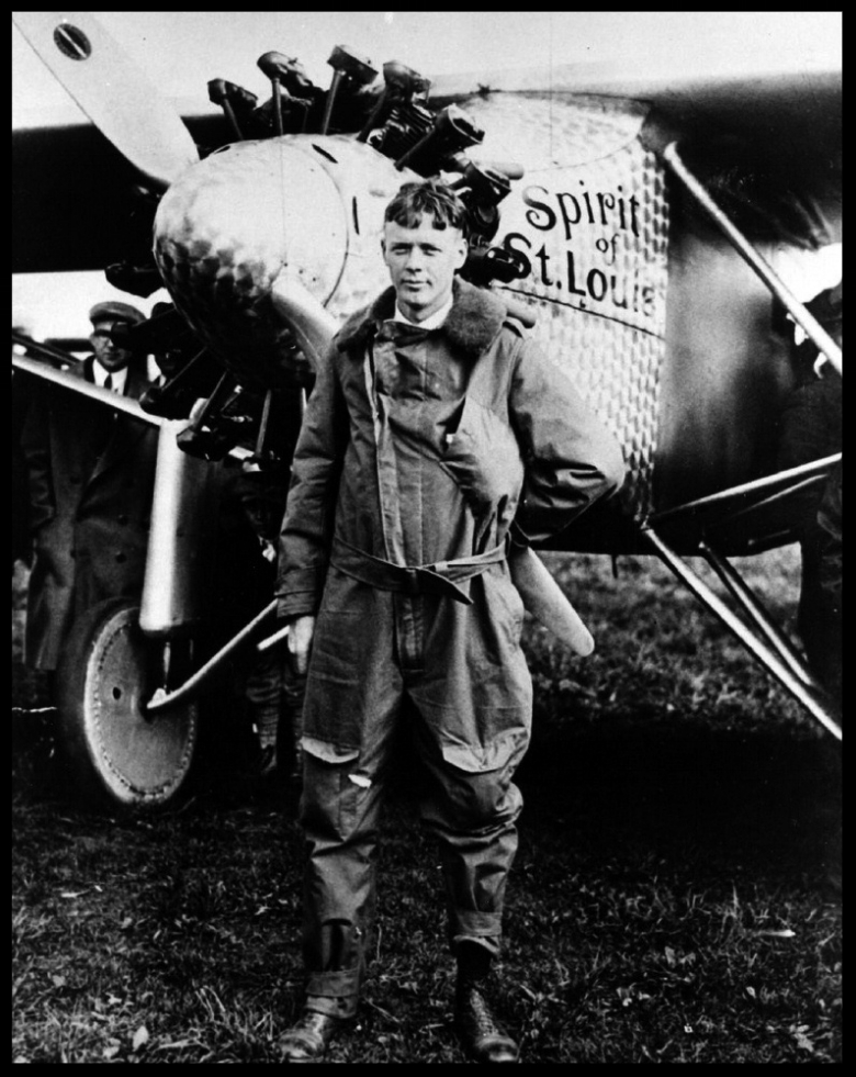 (1927) Charles Lindbergh in front of the Spirit of St. Louis. Water and Power Image.jpg