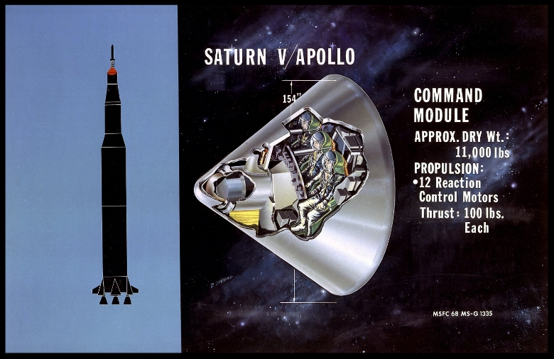 This is a cutaway illustration of the Saturn V command module (CM) configuration. The CM was crammed with some of the most complex equipment ever sent into space at the time. The three astronaut couches were surrounded by instrument panels, navigation gear, radios, life-support systems, and small engines to keep it stable during reentry. The entire cone, 11 feet long and 13 feet in diameter, was protected by a charring heat shield. The 6.5 ton CM was all that was finally left of the 3,000-ton Saturn V vehicle that lifted off on the journey to the Moon. NASA