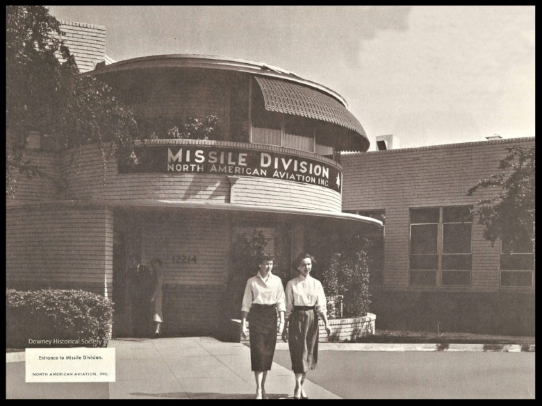 """Above- The front entrance """"rotunda"""" at North American Aviation Downey CA in 1958. Image- Downey Historical Society"""