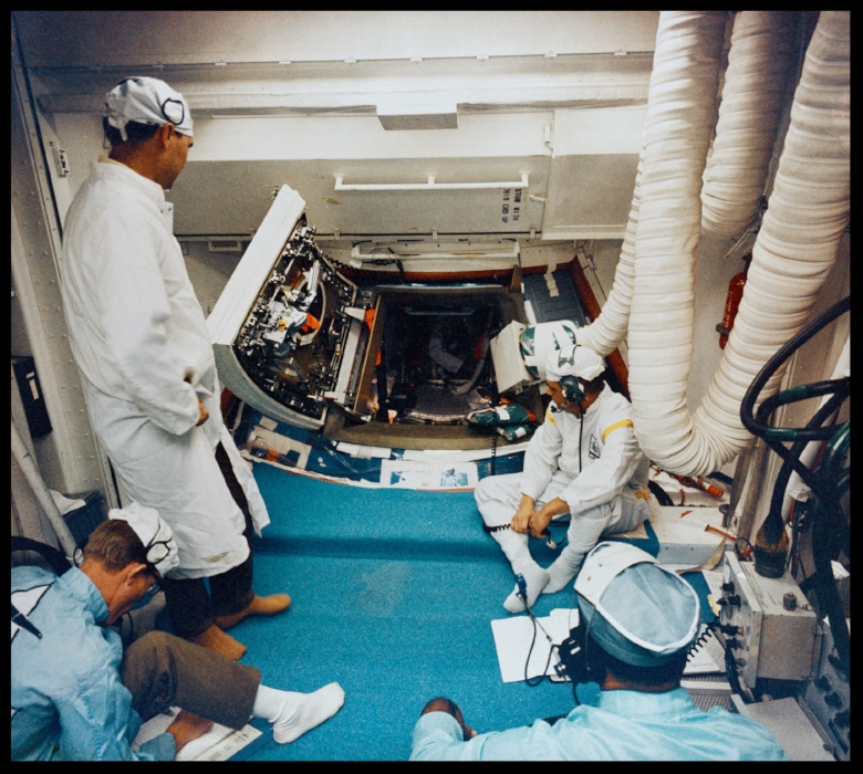 Saturn-504 Apollo 9 lunar module-3 simulated altitude chamber run with the prime crew, KSC. 1. Apollo 9- Pre-Launch. Image NASA. Courtesy-  SJO'Connell