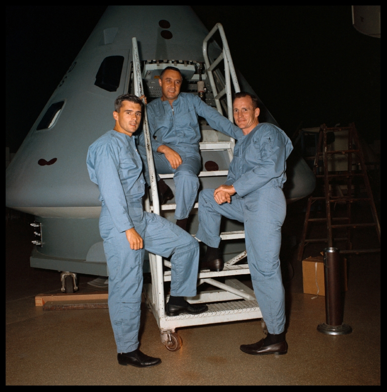 Portrait of Apollo 1 prime crew for first manned Apollo space flight. Left to right, are Astronauts Roger Chaffee, Virgil I. Grissom, and Edward H. White II. 1966. Image- NASA