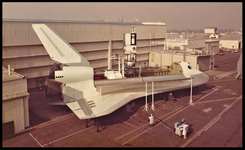 "Shuttle mock-up at Downey in mid 1970's. Renamed ""Inspiration"" by the City of Downey and then sent to storage in the city yard."