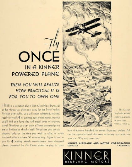 Above- Kinner Airplane Motors ad