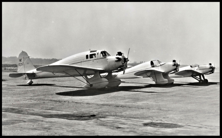 "Above- First 3 planes built by Kinner: L-R Model P for Robert Porter and Wife (Porter Ranch). Model R-1 for Dr. Ross Sutherland model K ""Sportster"" in 1933"