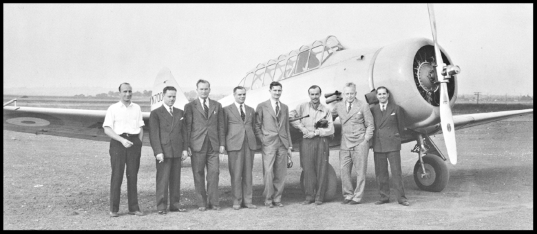 "Jmaes Howard ""Dutch"" Kindelberger second from left. Ken Bowen, far right. Ernie Breech second from left.  Image- Norm Avery book."