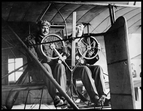 In 1913, aviation pioneer Glenn Martin, right, gave James H. Irvine a ride over the Irvine Ranch. Four years earlier, Martin made the first successful flight in California on Irvine's land..jpg