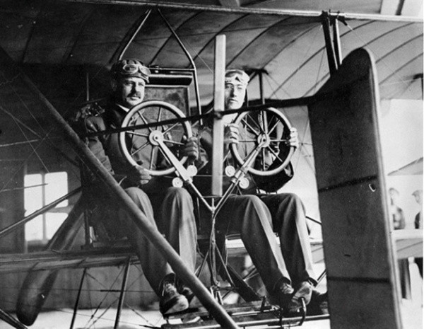 In 1913, aviation pioneer Glenn Martin, right, gave James H. Irvine a ride over the Irvine Ranch.
