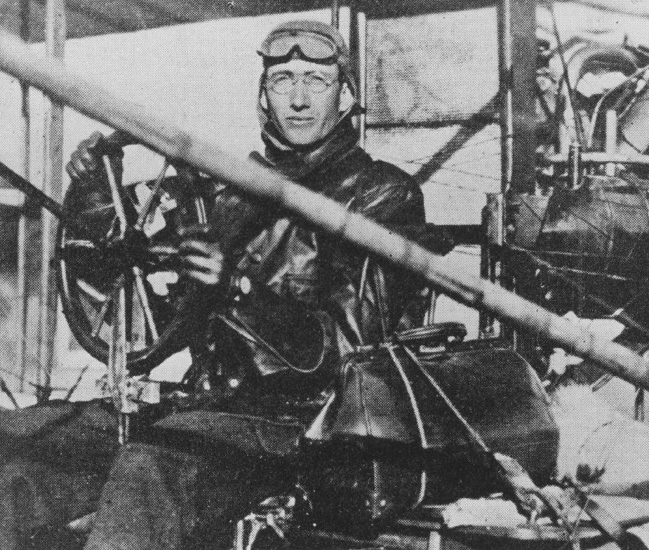 Glenn Martin in one of his earliest pusher biplanes made from (that's right), bamboo