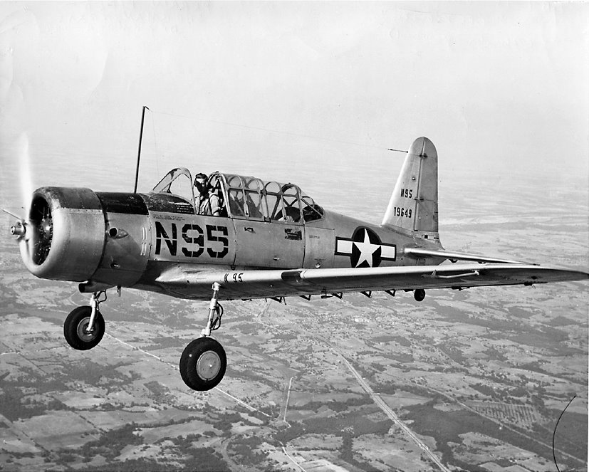 "In-flight view of a BT-13A ""Vibrator"""