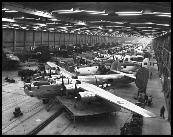 Above- B-24 Manufacturing With the outbreak of World War II, the aircraft industry became the largest single industry in America. Image-  Consolidated Convair Online Exhibit