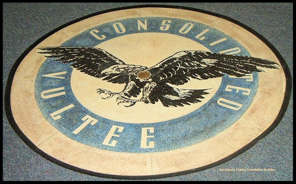 "Above-Consolidated Vultee logo in the floor of the former ""rotunda"" building at Downey Studios, formerly Vultee Aircraft plant at 12214 Lakewood Blvd. in Downey, CA."
