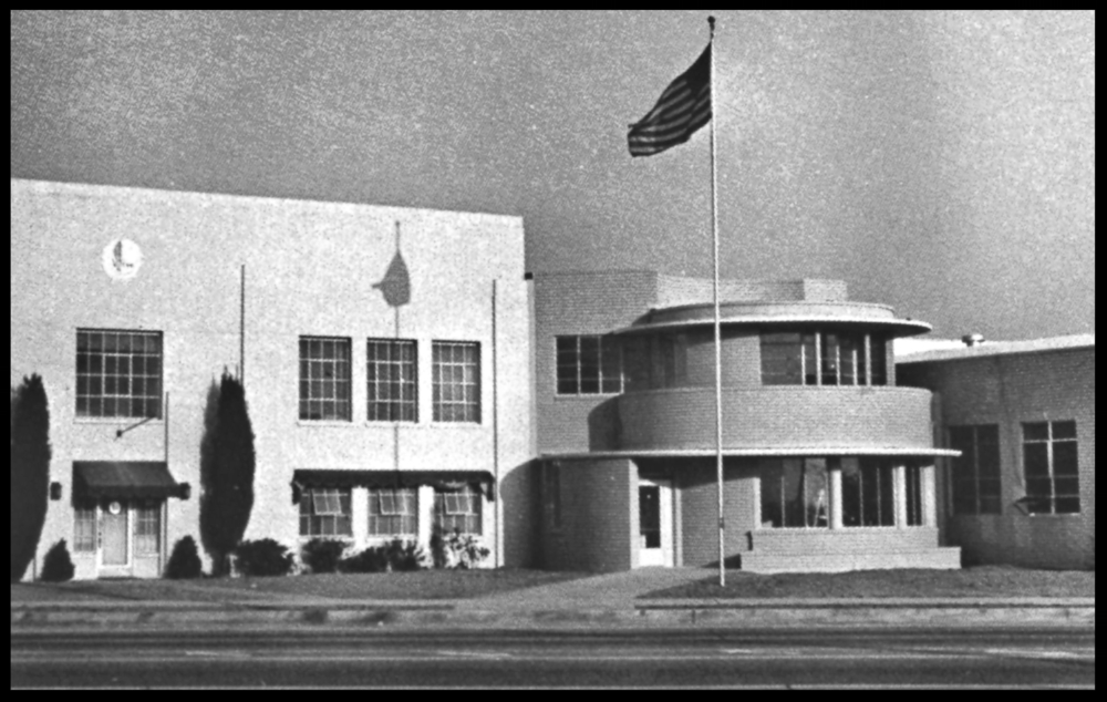 """Above- Vultee Aircraft """"Rotunda"""" in 1940 at 22124 Lakewood Blvd. in Downey."""