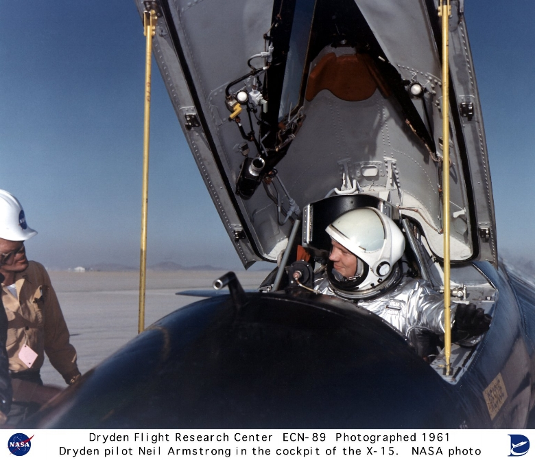 NASA pilot Neil Armstrong is seen here in the cockpit of the X-15 ship #1 (56-6670) after a research flight. 1965.