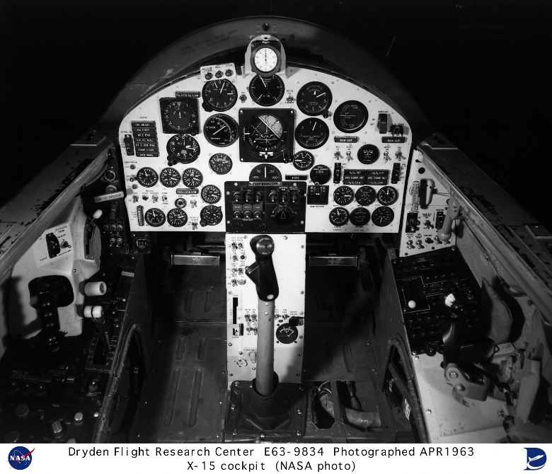 This photo shows the X-15 cockpit. The X-15 was unique for many reasons, including the fact that it had two types of controls for the pilot 1967.jpg