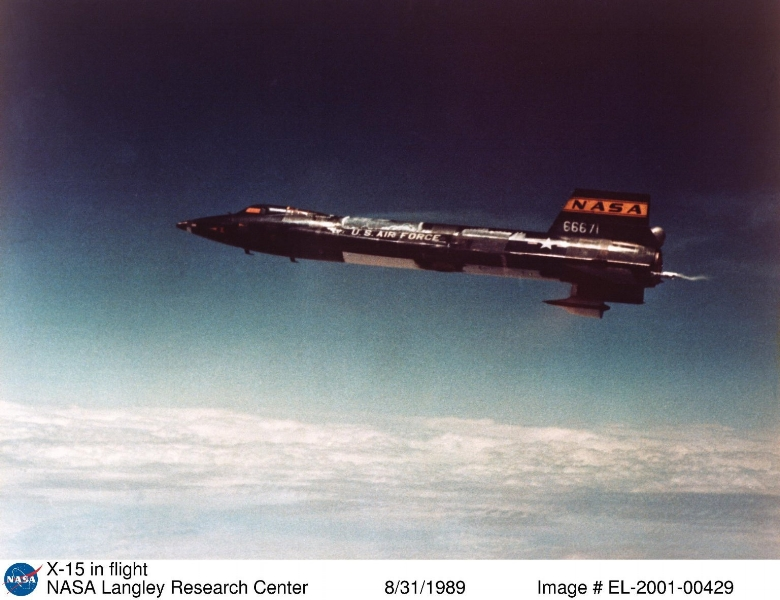 Above- The X-15 made 199 flights between June 1959 and October 1968. Until the maiden flight of the Space Shuttle Columbia in 1981, the X-15 held the world altitude and speed records for winged aircraft. Photograph and caption published in Winds of Change, 75th Anniversary NASA publication (page 69), by James Schultz.