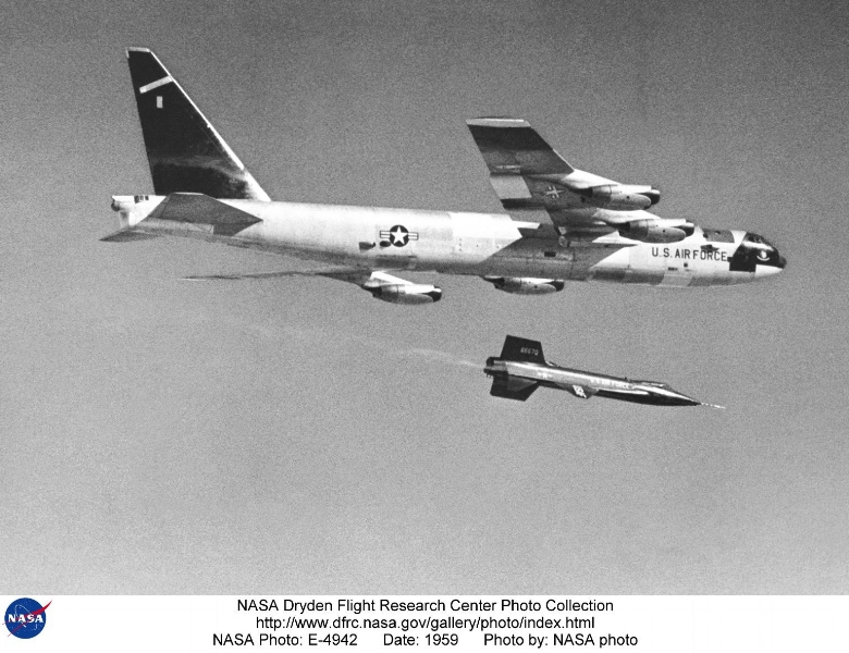 Above- This photo illustrates how the X-15 rocket-powered aircraft was taken aloft under the wing of a B-52. Because of the large fuel consumption, the X-15 was air launched from a B-52 aircraft at 45,000 ft and a speed of about 500 mph. This was one of the early powered flights using a pair of XLR-11 engines (until the XLR-99 became available).
