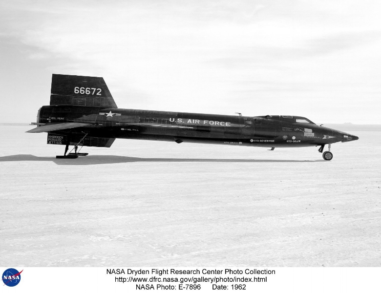 "Above- The X-15 ship #3 (56-6672) is seen here on the lakebed at the Edwards Air Force Base, Edwards, California. Ship #3 made 65 flights during the program, attaining a top speed of Mach 5.65 and a maximum altitude of 354,200 feet. Only 10 of the 12 X-15 pilots flew Ship #3, and only eight of them earned their astronaut wings during the program. Robert White, Joseph Walker, Robert Rushworth, John ""Jack"" McKay, Joseph Engle, William ""Pete"" Knight, William Dana, and Michael Adams all earned their astronaut wings in Ship #3. Neil Armstrong and Milton Thompson also flew Ship #3    The X-15 ship #3 (56-6672) is seen here on the lakebed at the Edwards Air Force Base, Edwards, California. Ship #3 made 65 flights during the program, attaining a top speed of Mach 5.65 and a maximum altitude of 354,200 feet. Only 10 of the 12 X-15 pilots flew Ship #3, and only eight of them earned their astronaut wings during the program. Robert White, Joseph Walker, Robert Rushworth, John ""Jack"" McKay, Joseph Engle, William ""Pete"" Knight, William Dana, and Michael Adams all earned their astronaut wings in Ship #3. Neil Armstrong and Milton Thompson also flew Ship #3."