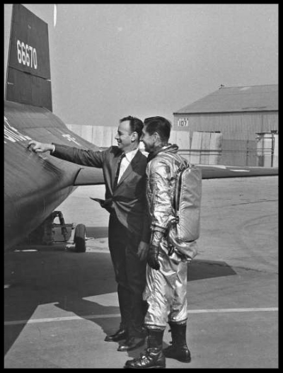 Chief Engineer Harrison A. Storms (L) standing with pilot of the X-15 Scott Crossfield