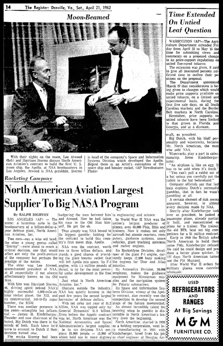 Above-The Danville Register Sat Apr 21 1962