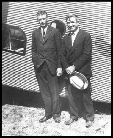1927 Celebrity aviators and friends, Lindy and Rogers. Charles Lindbergh and Will Rogers. Getty Images.