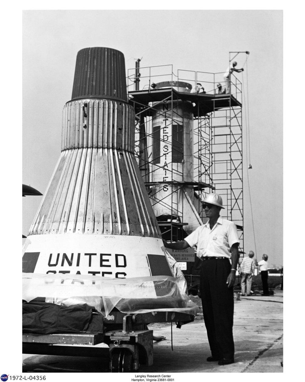 PARD Chief Joseph A. Shortal examines full-size Mercury capsule ...