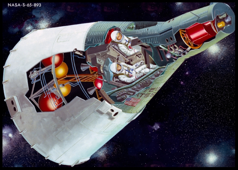 Above- An Artist Concept illustrating a see-through, cutaway view of the 2-Man Gemini Spacecraft. MSC, HOUSTON, TX