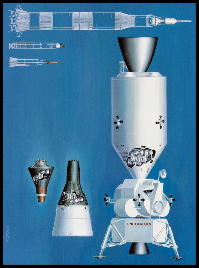 Above- An Artist Concept illustrating the comparative sizes of the Mercury, Gemini and Apollo Spacecraft and their launch vehicles.    MSC, HOUSTON, TX . Image- NASA