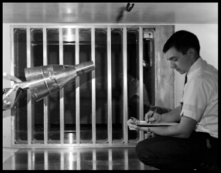 Gemini capsule being tested in Unitary Plan Wind Tunnel. Nov. 1962.    NASA Langley
