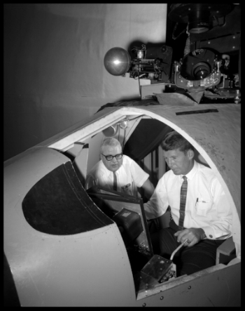 "Visual Docking Simulator From A.W. Vogeley, ""Piloted Space-Flight Simulation at Langley Research Center,"""