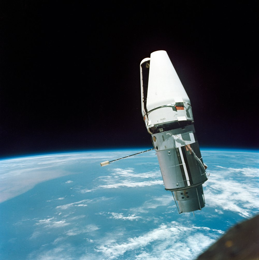 The Augmented Target Docking Adapter is photographed from the Gemini-9 spacecraft during rendezvous in space. 1966