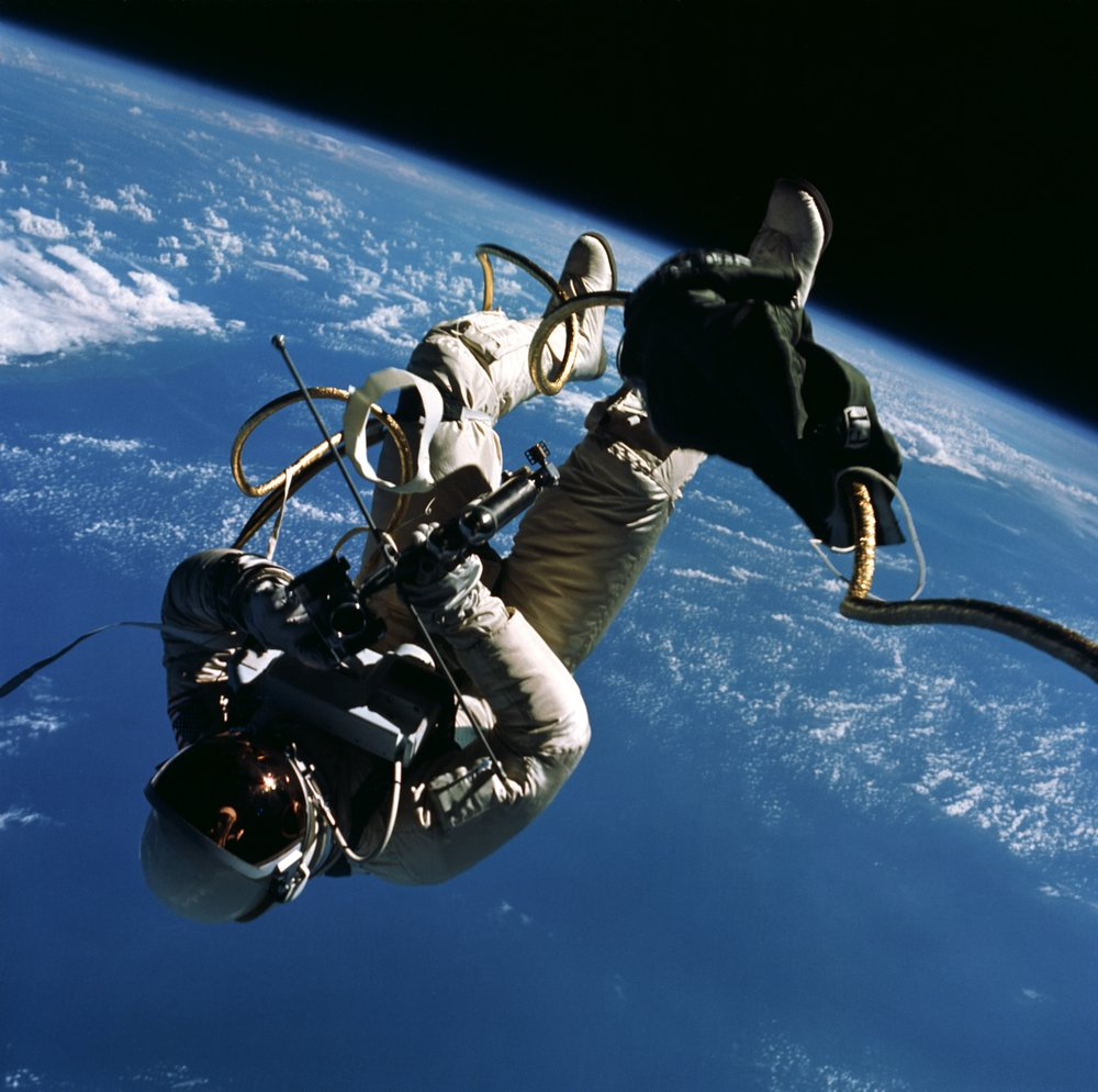 Astronaut Edward H. White II, pilot for the Gemini-Titan 4 space flight, floats in zero gravity of space